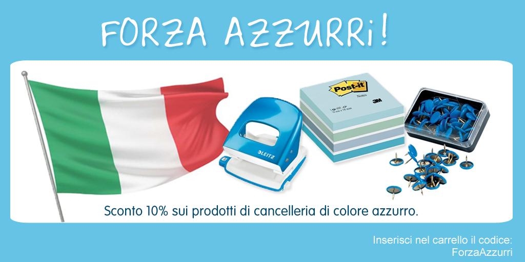 Forza Azzurri - sconto 10% sulla cancelleria di colore azzurro!