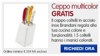 Ceppo coltelli colorati Brandani IN REGALO