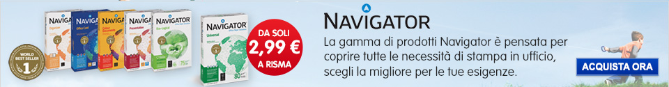 Scopri la gamma di carta Navigator a partire da soli 2,99€/risma