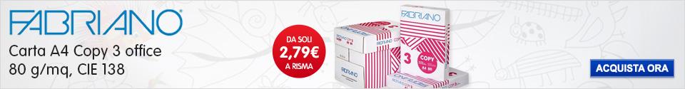 Carta A4 Fabriano Copy 3 da soli 2,79€ cad.