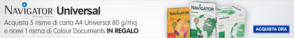 Acquista 5 riosme di carta A4 Navigator Universal e ricevi Color Documents IN REGALO!